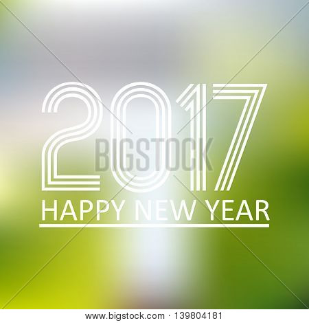 Happy New Year 2017 On Blur Abstract Background Eps10