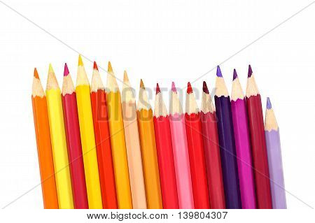 Assortment color pencils isolated on white background