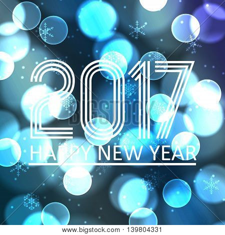 Happy New Year 2017 On Blue Bokeh Circle Background Eps10