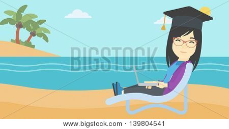 An asian happy graduate lying in chaise long. Young woman in graduation cap working on laptop. Graduate on a beach. Vector flat design illustration. Horizontal layout.