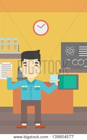 An asian student using a tablet computer in training class. Young man with tablet computer pointing forefinger up. Education technology. Vector flat design illustration. Vertical layout.