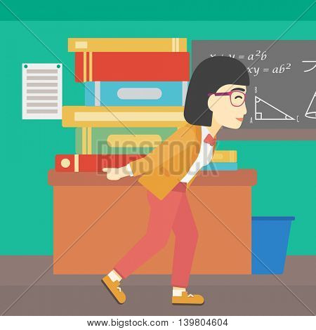 An asian tired student carrying a heavy pile of books on his back. Student with pile of books in the classroom. Student with many books. Vector flat design illustration. Square layout.