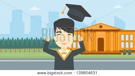 An asian excited graduate in cloak and graduation hat. Graduate throwing up his hat. Graduate celebrating on a background of educational building. Vector flat design illustration. Horizontal layout.