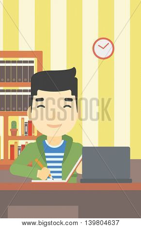 An asian young student sitting at the desk with laptop. Student using laptop at home and writing notes. Student working on laptop. Vector flat design illustration. Vertical layout.