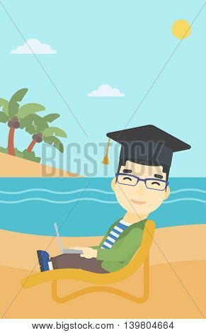 An asian happy graduate lying in chaise long. Young man in graduation cap working on laptop. Graduate on a beach. Vector flat design illustration. Vertical layout.