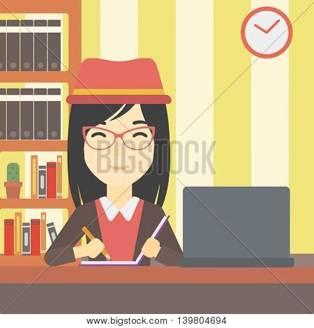 An asian young female student sitting at the desk with laptop. Student using laptop at home and writing notes. Student working on laptop. Vector flat design illustration. Square layout.