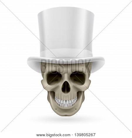 Human skull wearing a white top hat.