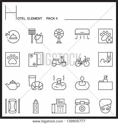 Hotel Element Line Icon Set 4.Mono pack.Graphic vector logo set.Pictogram design.