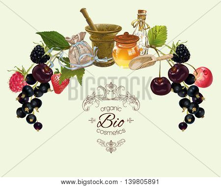 Vector vintage fruit and berry cosmetic banner with honey and mortar .Design for herbal and fruit tea, natural cosmetics, candy, grocery and health care products. Can be used as logo design