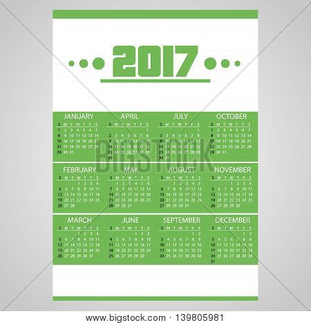 2017 Simple Business Wall Calendar Green And White Eps10
