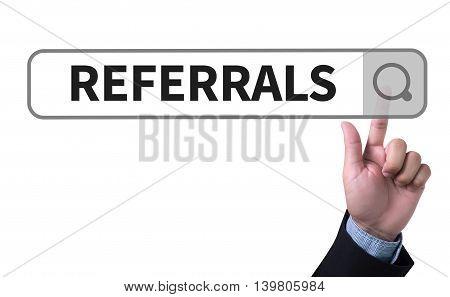 REFERRALS Business team hands at work man work