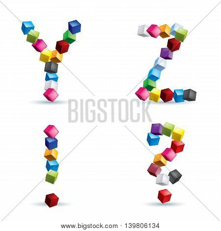 Letters Y and Z question sign and exclamation sign made of colored blocks.