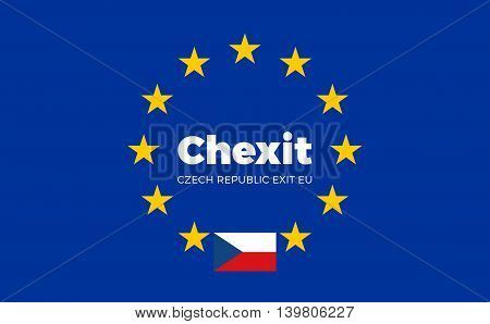 Flag of Czech Republic. Chexit - Czech Republic Exit EU European Union Flag with Title EU exit for Newspaper and Websites. Isolated Vector EU Flag with Czech Republic Country and Exit Name Chexit.