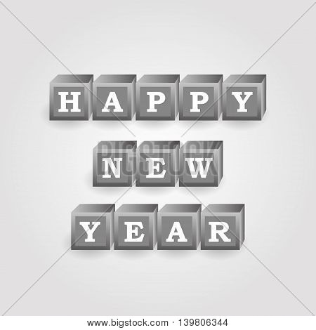 Happy New Year Message From Gray Bricks With Numbers Eps10