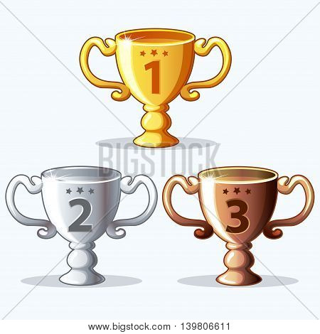 cartoon Colorful rewards goblet - gold silver and bronze