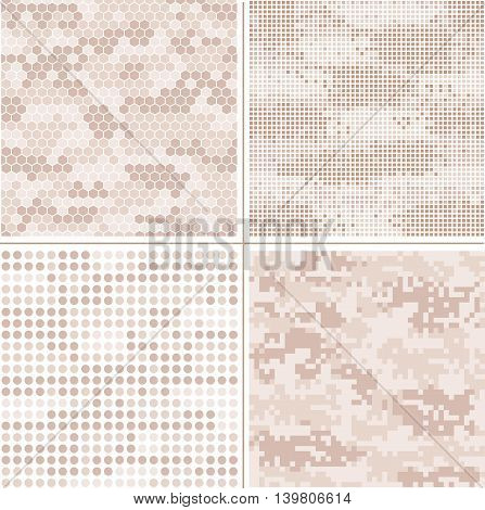 Seamless vector digital Pixel Camouflage collection - Urban, Desert, Jungle, Snow camo vector set