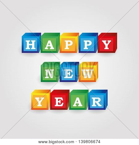 Happy New Year Message From Color Bricks With Numbers Eps10