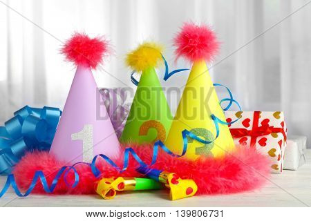 Party hats cone on white table