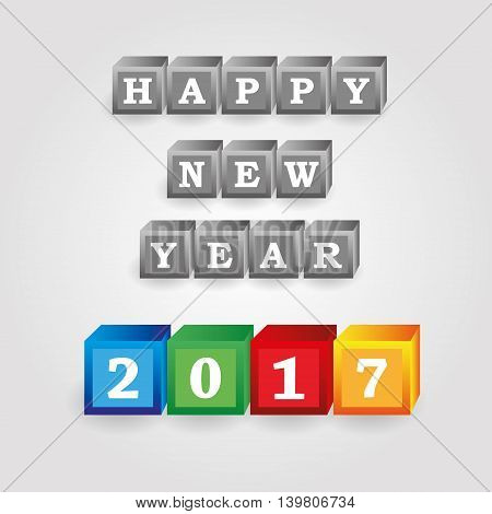 Happy New Year 2017 Message From Gray And Color Bricks With Numbers Eps10