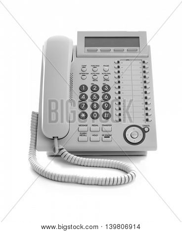 Modern office IP telephone set isolated on the white