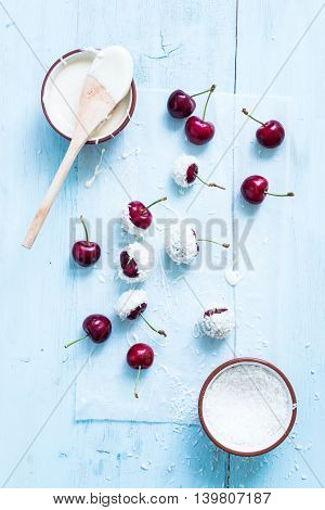 Sweet Cherries With Chocolate And Coconut