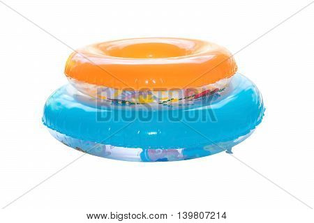 Group of colorful swim rings isolated on white background.
