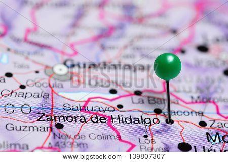 Zamora de Hidalgo pinned on a map of Mexico