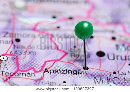 Apatzingan pinned on a map of Mexico