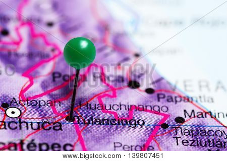 Tulancingo pinned on a map of Mexico