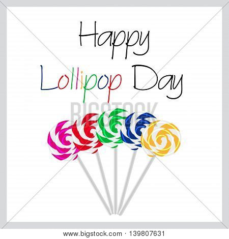 Happy Lollipop Day Colorful Card With Five Tasty Sweet Lollipops Eps10