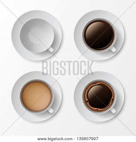 Set of Coffee Cup Mug with Crema Foam Bubbles Top View Isolated On White Background