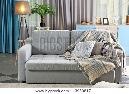 Interior with gray sofa