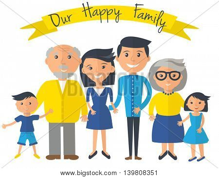 Our Happy family illustration. Father, mother, grandparents, son and daughter portrait with banner. Vector family portrait