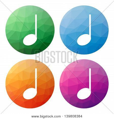 Set  Of 4 Isolated Modern Low Polygonal Buttons - Icons - For Note - Music, Sound, ...
