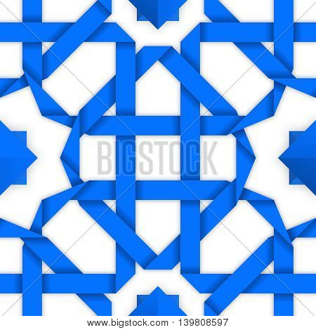 Blue interwoven ribbons ornament. Geometric vector seamless pattern with crossed stripes. Tileable oriental background with intertwined tape