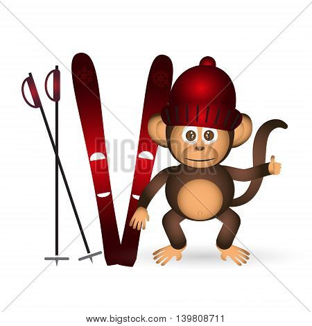 Cute Chimpanzee With Red Winter Cap And Ski Sport Little Monkey  Eps10