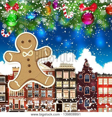 Gingerbread haus on the background of snow-covered streets. New Year design background. Falling snow.  Holiday illustration with place for text.