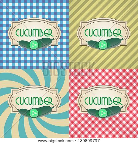 Four Types Of Retro Textured Labels For Cucumber Eps10