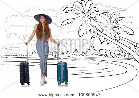 Young woman travelling tropical island in travel concept