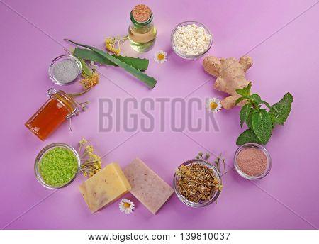 Frame of natural ingredients for skin care on violet background