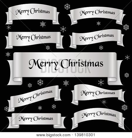 Silver Shiny Color Merry Christmas Slogan Curved Ribbon Banners Eps10