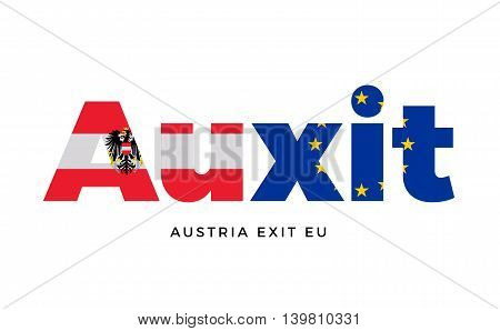 AUXIT - Austria exit from European Union on Referendum. Vector Isolated