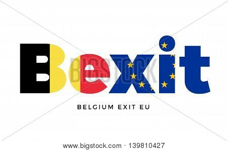 BEXIT - Belgium exit from European Union on Referendum. Vector Isolated