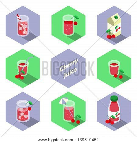 Set of isometric cherry drinks and beverages icons in flat design