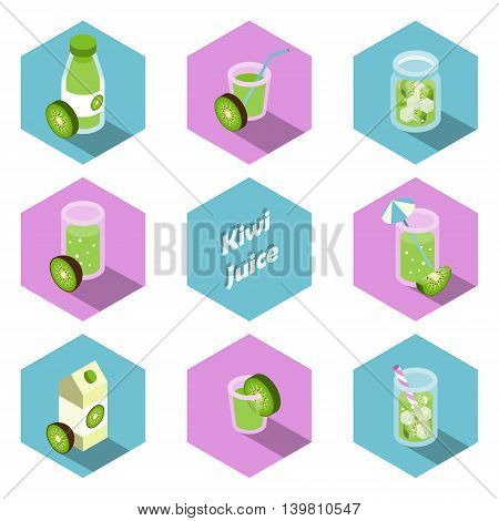 Set of isometric kiwi drinks and beverages icons in flat design