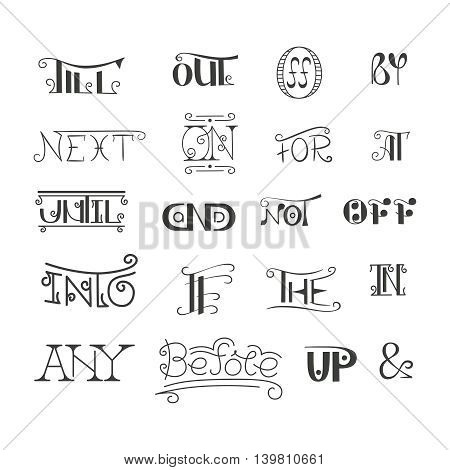 Set Of Vector Hand Written Catchwords Pretexts And Ampersands In Doodle Style. Sketched Calligraphic