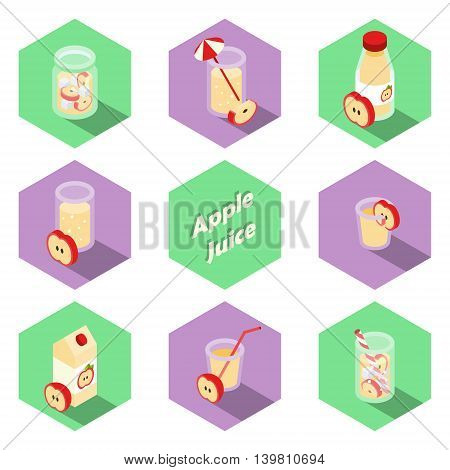 Set of isometric apple drinks and beverages icons in flat design