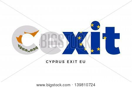 CEXIT - Cyprus exit from European Union on Referendum. Vector Isolated