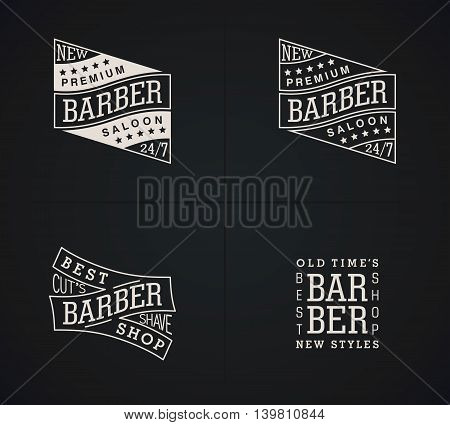 Set of vector emblems Barber Shop in vintage style. Modern linear minimalism. Design for Logos Stamp Badges Signboard t-shirts and others.