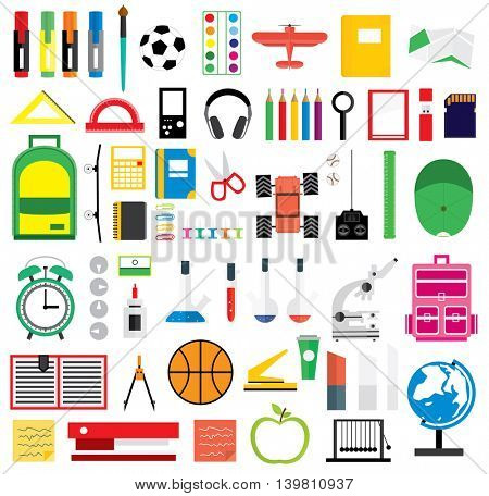 Set of school supplies. Vector illustration. Icons on school theme.